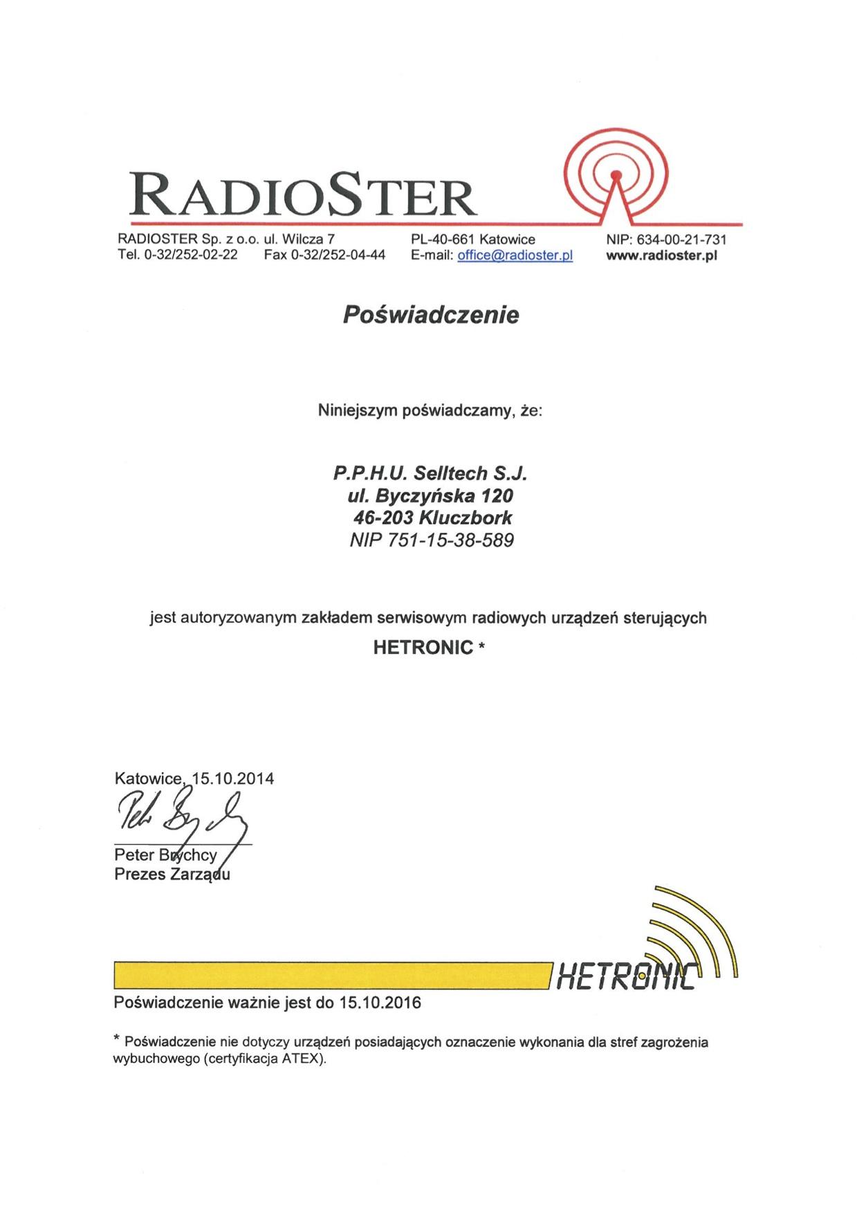 Certyfikat serwis Hetronic